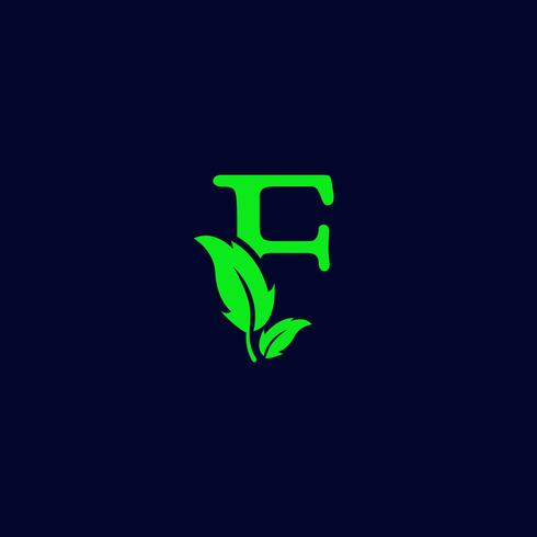 letter f leaf nature, eco green logo template vector isolated