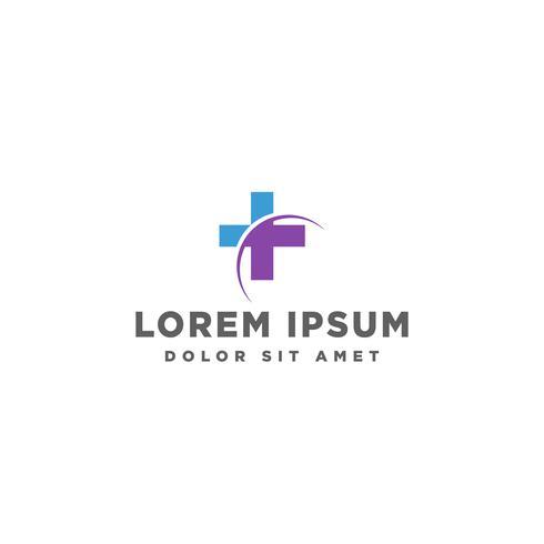 Cruz plantilla de logotipo de medicina, ilustración vectorial o elementos de icono