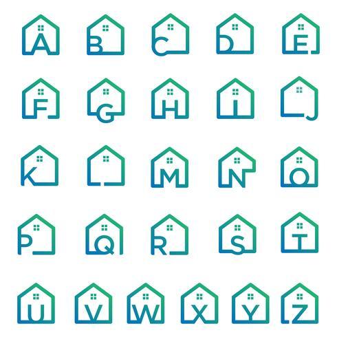 lettre az architecte, maison, modèle de logo créatif de construction