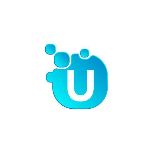 Carta u modelo de logotipo de bolha ou icon ilustração vetorial