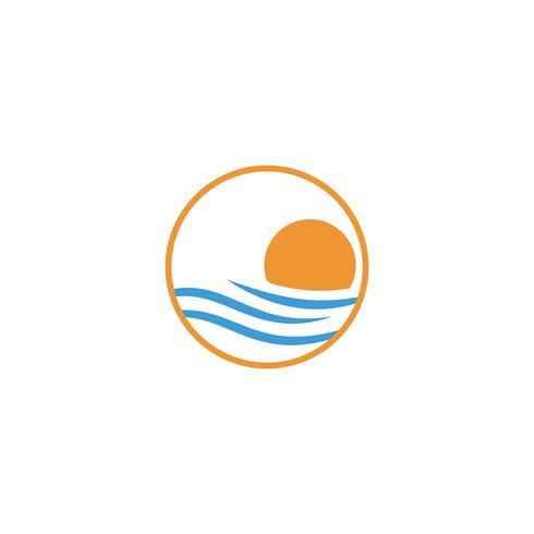 élément icône de plage coucher de soleil logo design vectoriel, notion de logo coucher de soleil