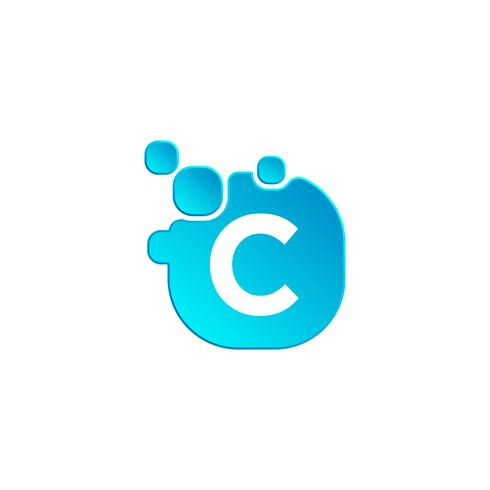 Letter C Bubble logo template or icon vector illustration