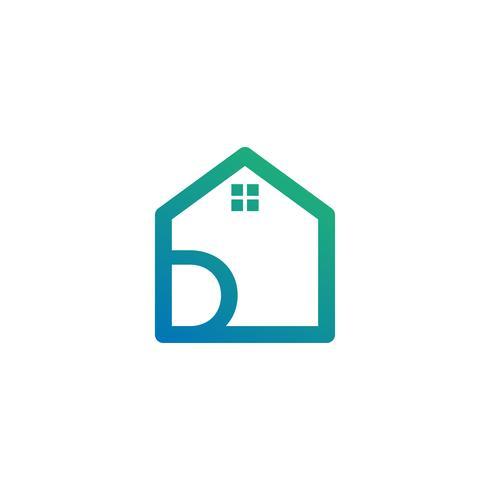 letra d arquiteto, casa, modelo de logotipo criativo de construção