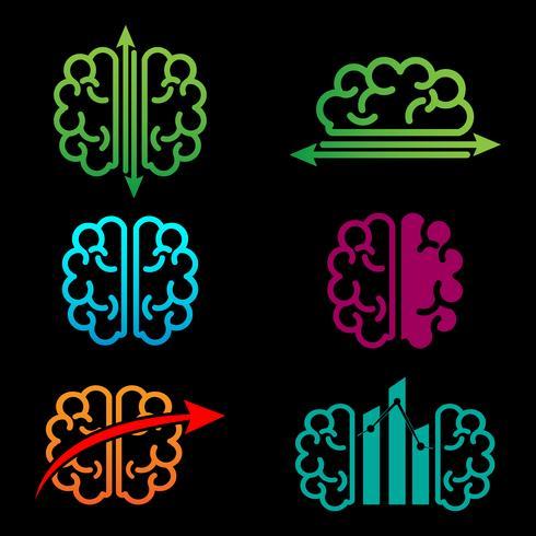 Ilustración de vector de plantilla de logotipo creativo contable cerebro