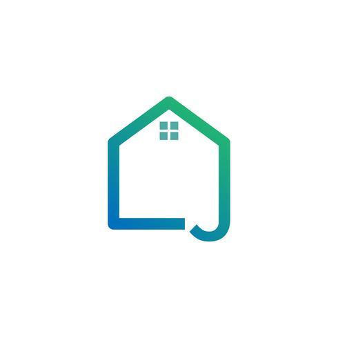 Buchstabe J Architekt, Haus, Bau kreative Logo-Vorlage