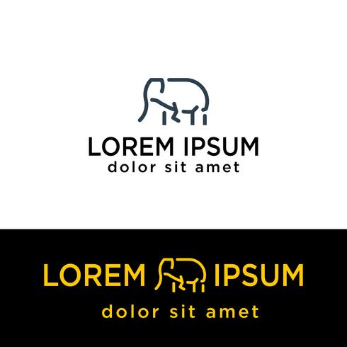 elefant linje logotyp mall vektor illustration, ikonelement