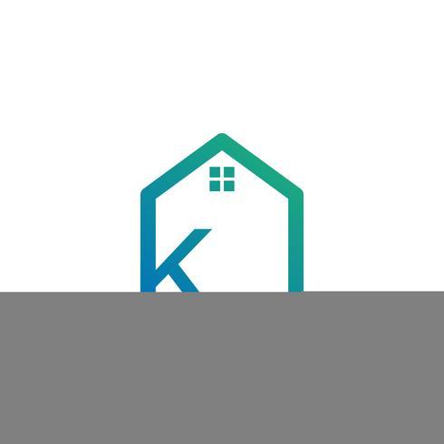 arquiteto de letra k, casa, modelo de logotipo criativo de construção vetor