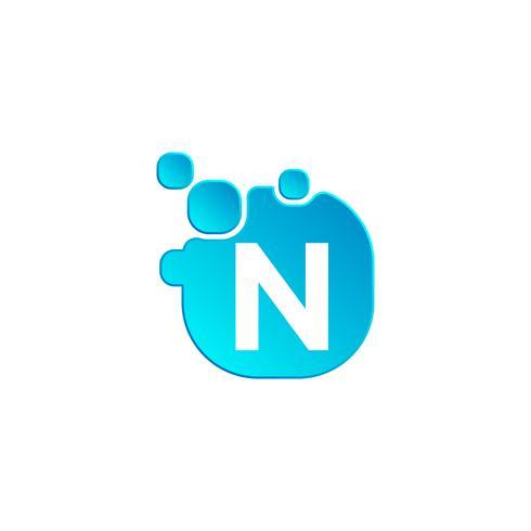 Letter n Bubble logo sjabloon of pictogram vectorillustratie