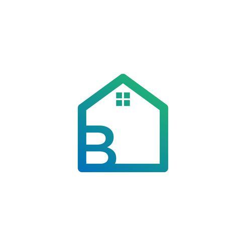 arquiteto de letra b, casa, modelo de logotipo criativo de construção