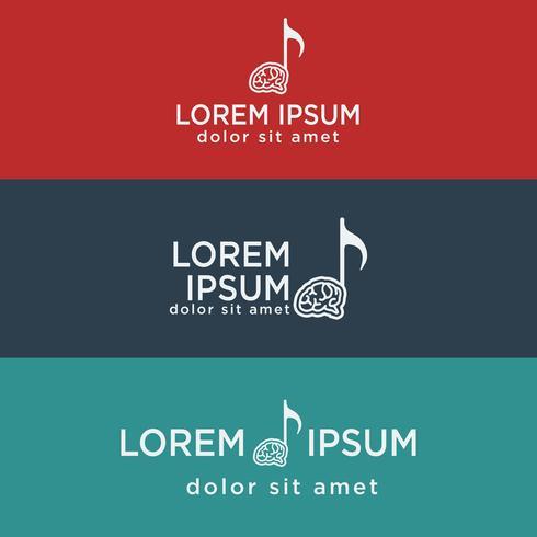 music brain symbol, creative logo template vector illustration