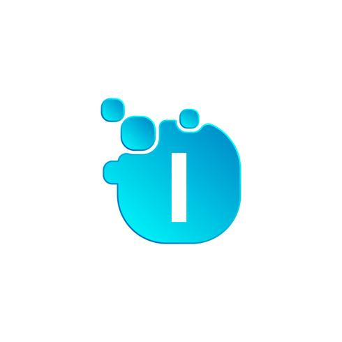 Blasenlogoschablone des Buchstaben I oder Ikonenvektorillustration