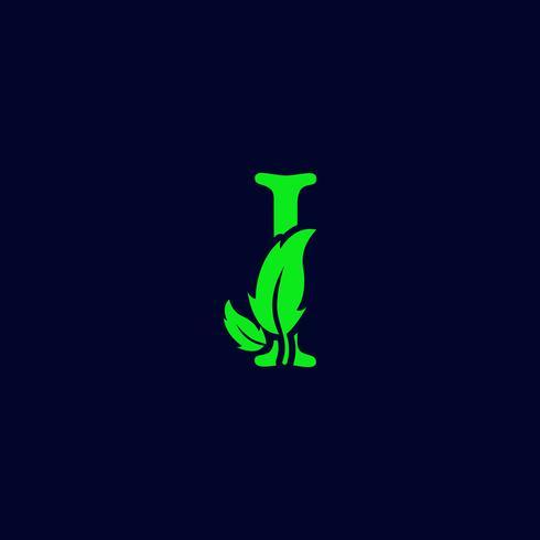 letra i natureza de folha, vetor de modelo de logotipo verde eco isolado