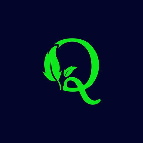 Letra q hoja naturaleza, eco verde logo plantilla vector aislado