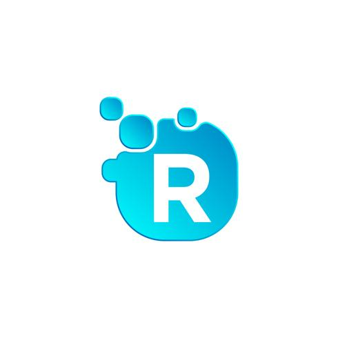 Letter r Bubble logo template or icon vector illustration