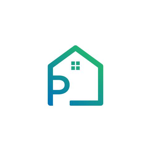 lettre p architecte, maison, modèle de logo créatif de construction