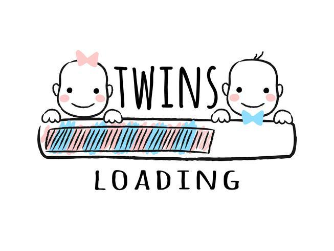 Barra de progreso con inscripción: carga de gemelos y caras de sonrientes de niños y niñas recién nacidos en estilo incompleto. Ilustración del vector para el diseño de la camiseta, cartel, tarjeta, decoración de la ducha del bebé