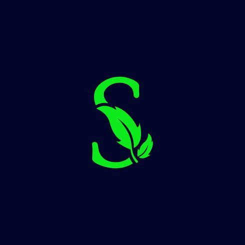 lettera s foglia natura, eco verde logo modello vettoriale isolato