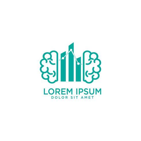 illustrazione ed ispirazione di vettore del modello di logo di concetto del cervello