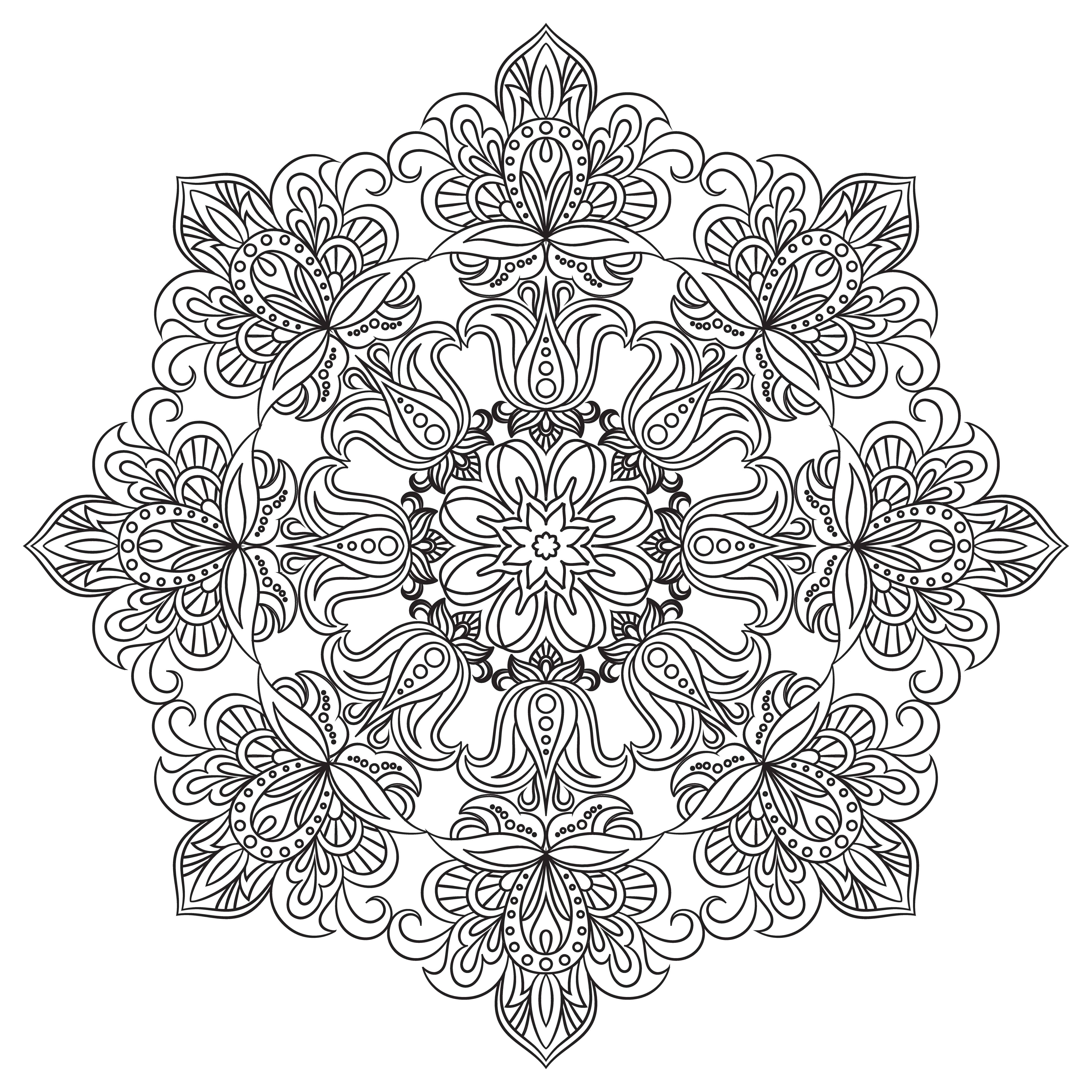 Contour Mandala for anti-stress coloring book. Decorative ...