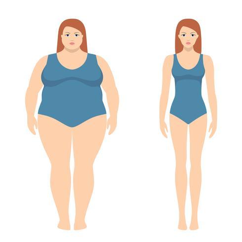 Vektor illustration av fett och smal kvinna i platt stil. Viktminskning koncept, före och efter. Obese och normal kvinnlig kropp.