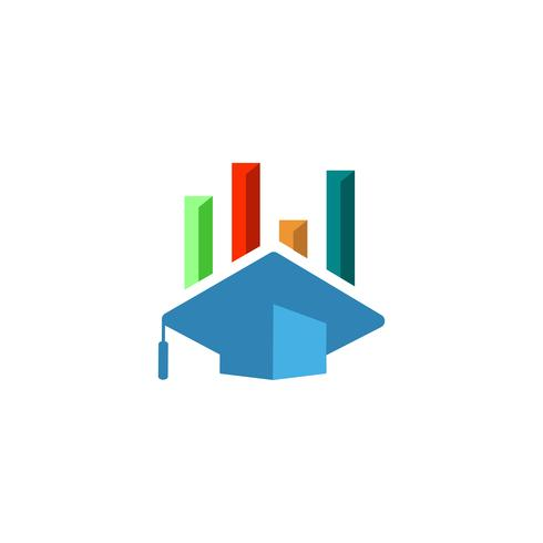 Ausbildung, Absolventlogo-Vektorillustration, Ikone lokalisierte Elemente vektor