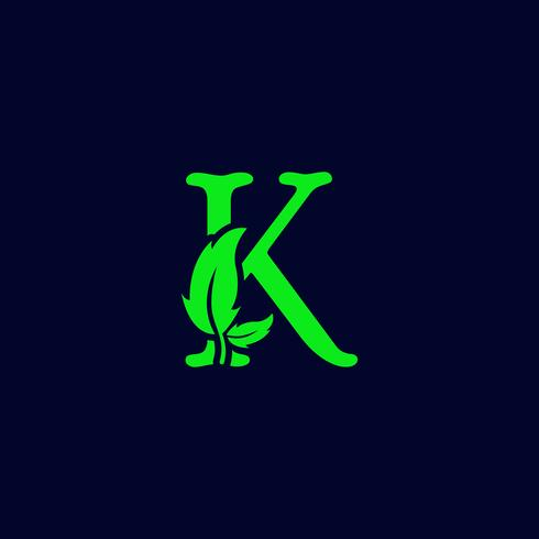 letter k leaf nature, eco green logo template vector isolated