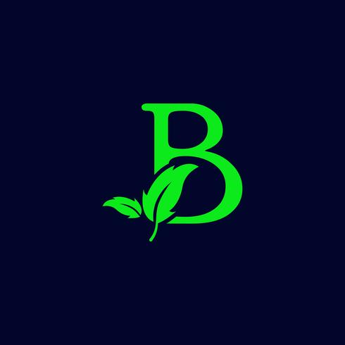 letter b leaf nature, eco green logo template vector isolated