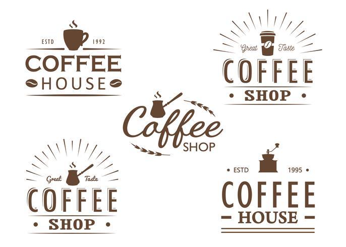 Conjunto de modelos de logotipo vintage café, emblemas e elementos de design. Coleção de logotipos para café, café, restaurante. Ilustração vetorial Hipster e estilo retrô.