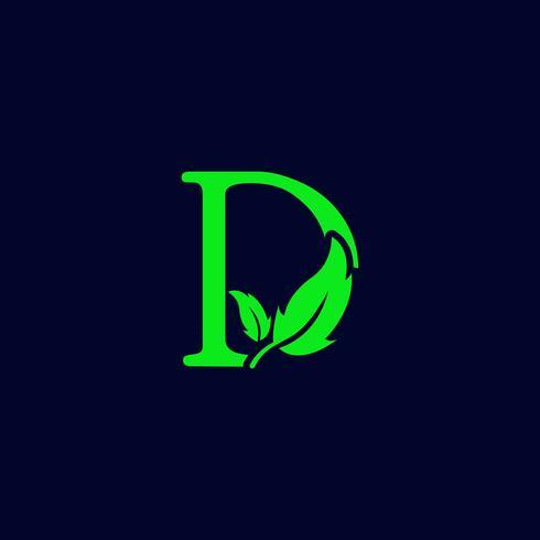 Letra d hoja naturaleza, eco verde logo plantilla vector aislado