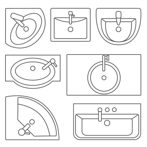 Sinks top view collection.Vector contour illustration. Set of different wash basin types. vector