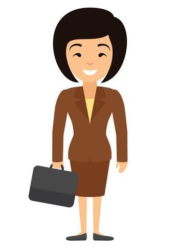 Vector a ilustração do caráter asiático da mulher de negócios com caso no estilo liso.