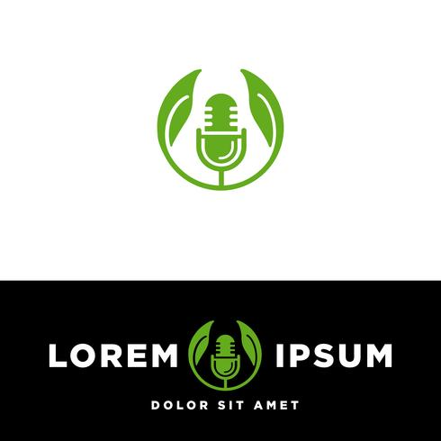Podcast Music microphone logo template, vector illustration