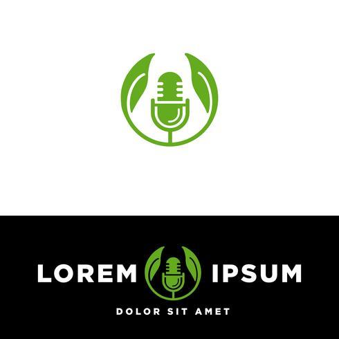Modelo de logotipo de microfone Podcast Music, ilustração vetorial