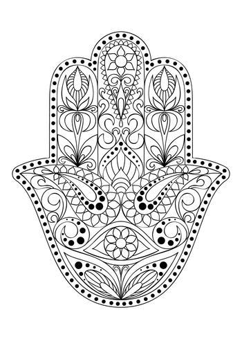 Handgezeichnete Hamsa-Symbol. Hand von Fatima. Ethnisches Amulett, das in indischen, arabischen und jüdischen Kulturen verbreitet ist. Hamsa-Symbol mit östlicher Blumenverzierung für erwachsenen Farbton. Malvorlage mit Hamsa-Symbol. vektor