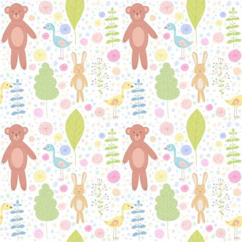 Forest animals seamless pattern with bear, rabbit, bird and flowers