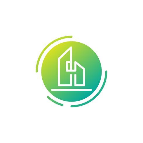 lettera h architetto, casa, modello di logo creativo di costruzione