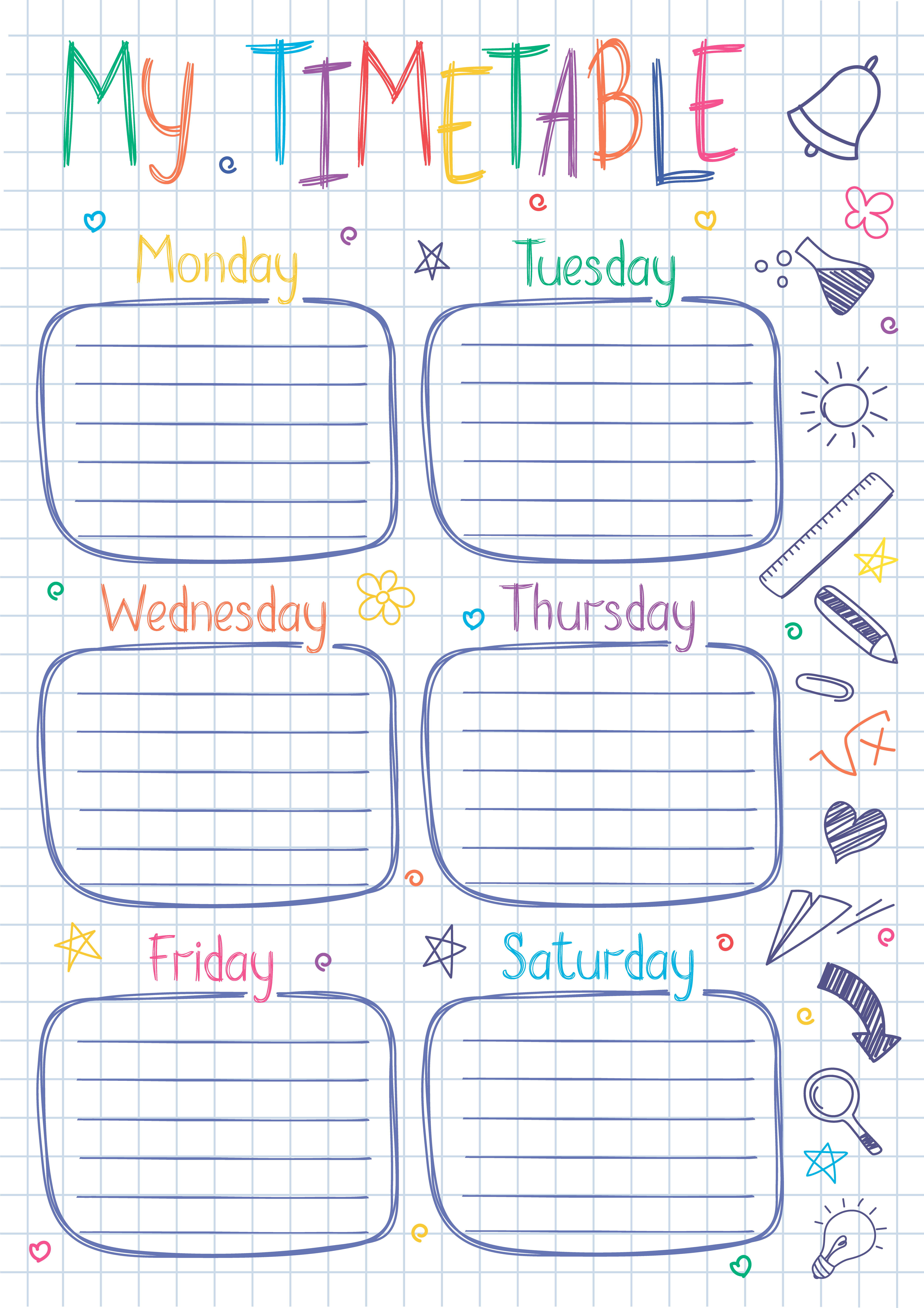 school timetable template on copy book sheet with hand