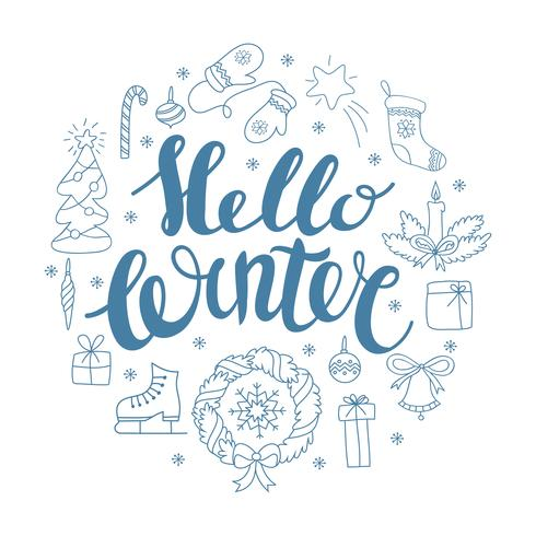 Hello winter handlettering with christmas elements. Winter season card, greeting