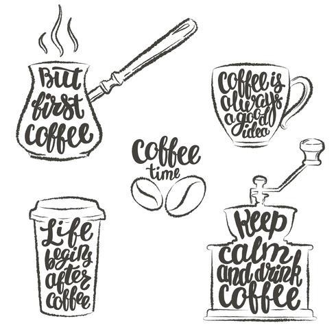 Kaffeebeschriftung in der Schale, Schleifer, Topfschmutzkonturen. Moderne Kalligraphiezitate über Kaffee. Weinlesekaffeegegenstände eingestellt mit handgeschriebenen Phrasen.