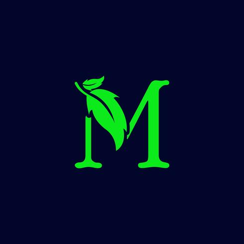 letter m leaf nature, eco green logo template vector isolated