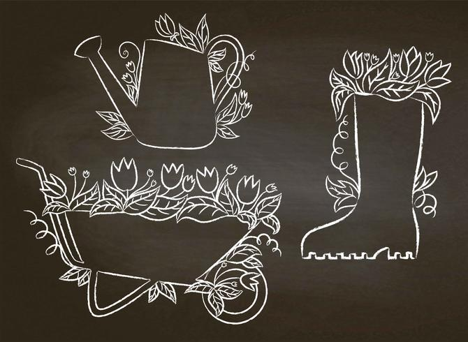 Chalk contours of watering can, boot and barrow with leaves and flowers.Collection of gardening placards on blackboard. Gardening typography posters set.  vector