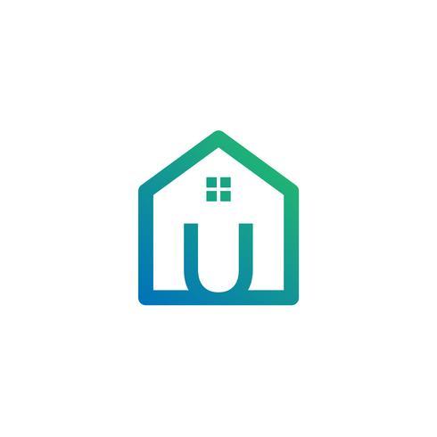 letter u architect, home, construction creative logo template