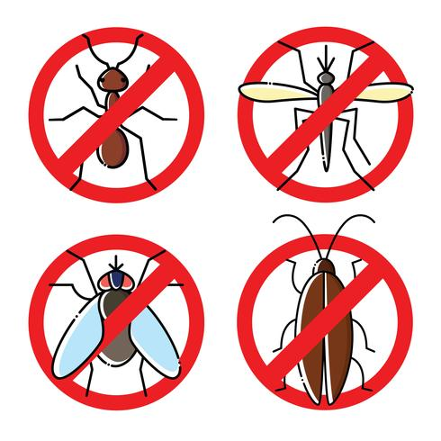 Geen insecten vlakke pictogrammen instellen. Insecticide symbolen.