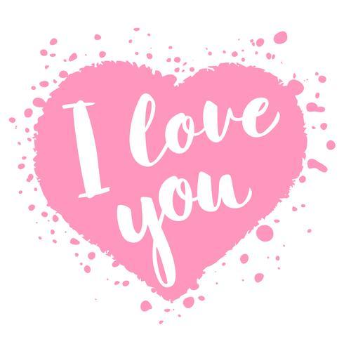 Tarjeta del día de San Valentín con letras dibujadas a mano - Te amo - y forma abstracta de corazón. Ilustración romántica para volantes, carteles, invitaciones navideñas, tarjetas de felicitación, estampados de camisetas.