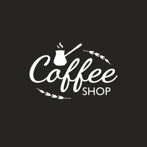 Vintage Coffee logo template, badge and design elements. Logotype for coffee shop, cafe, restaurant. Vector illustration. Hipster and retro style.