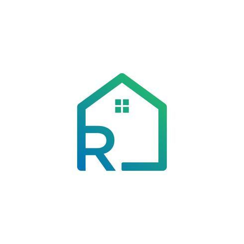 lettre r architecte, maison, modèle de logo créatif de construction