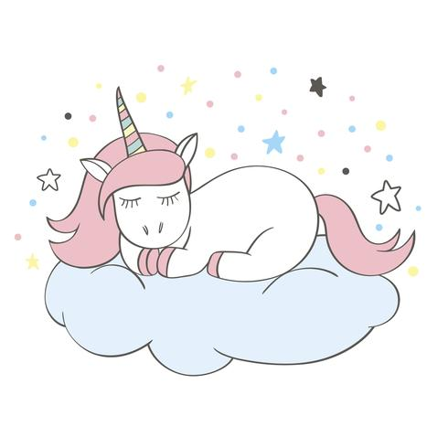 Divertente personaggio di unicorno cartoon dormendo su una nuvola isolato su sfondo bianco. Fata adorabile pony. Illustrazione di bambini Doodle unicorno per carte, poster, stampe per t-shirt, design tessile.