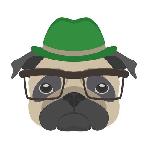 Portret van pug hond met bril en hoed in vlakke stijl. Vectorillustratie van Hipster-hond voor kaarten, t-shirtdruk, aanplakbiljet. vector