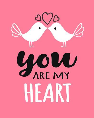 Letras de You and Me con pájaros besándose para la tarjeta, póster, banner o etiqueta del día de San Valentín. Vector ilustración de día de San Valentín.