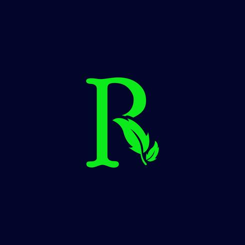 letter r leaf nature, eco green logo template vector isolated